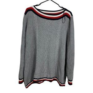 Tommy Hilfiger Sweater Women's Size 2XL Grey Knit Cotton Pullover